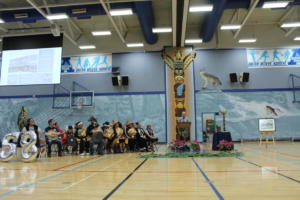Mr. Gord Stewart, former ACSS principal and current Langley School District Superintendent addresses the gymnasium.